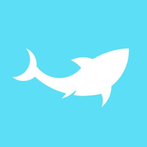 white shark logo light blue background